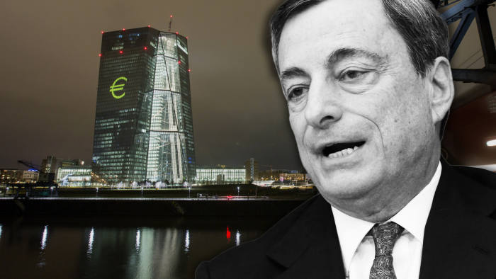 Montage of Mario Draghi and the ECB in Frankfurt. The central bank's president asked last month that governments loosen the purse strings to complement its stimulus.
