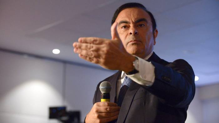 French carmaker Renault CEO Carlos Ghosn talks during the financial annual results presentation at the group headquarters in Boulogne-Billancourt, near Paris, on February 12, 2016 . / AFP PHOTO / ERIC PIERMONT (Photo credit should read ERIC PIERMONT/AFP via Getty Images)