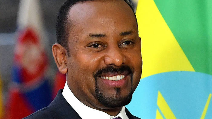 Ethiopia's Prime Minister Abiy Ahmed is welcomed by the European Council president upon his arrival at the European Council in Brussels on January 24, 2019. (Photo by EMMANUEL DUNAND / AFP) (Photo credit should read EMMANUEL DUNAND/AFP/Getty Images)