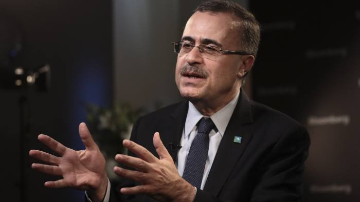 Amin Nasser, chief executive officer of Saudi Arabian Oil Co. (Aramco), gestures as he speaks during a Bloomberg Television interview on day two of the World Economic Forum (WEF) in Davos, Switzerland, on Wednesday, Jan. 24, 2018. World leaders, influential executives, bankers and policy makers attend the 48th annual meeting of the World Economic Forum in Davos from Jan. 23 - 26. Photographer: Simon Dawson/Bloomberg