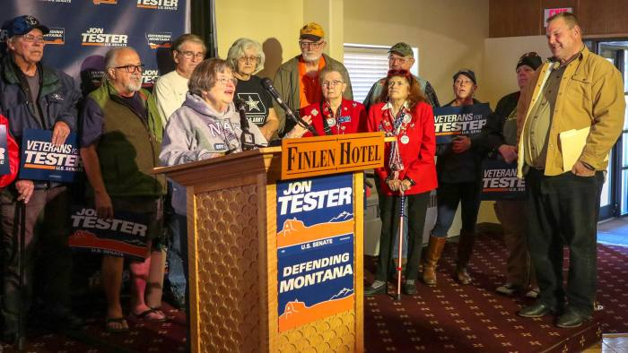 Demetri Sevastopulo story for World on midterm ele0ctions in Montana - Jon Tester (on right) at the Finlen Hotel in Butte, Montana - The woman at the podium is Eileen Greb, a retired naval reserve officer and retired nurse