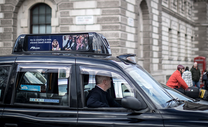 07/03/2018 A taxi carries an advert to celebrate the arrival in London of the Saudi Crown Prince.