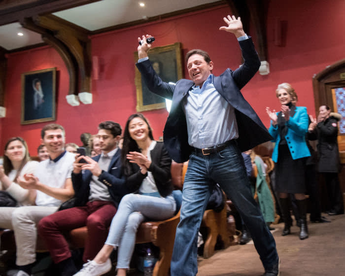 Mandatory Credit: Photo by The Oxford Union/Shutterstock (9473450f) Jordan Belfort, American author, motivational speaker and former stockbroker Jordan Belfort at The Oxford Union, UK - 05 Mar 2018 In 1999 he pleaded guilty to fraud in connection with stock market manipulation and running a boiler room scam. Inspiration for
