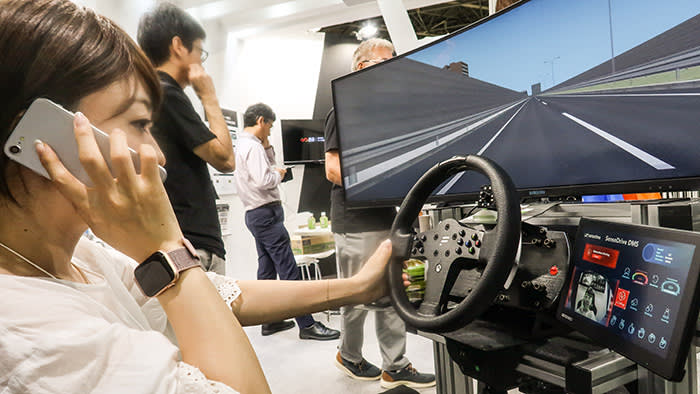 SenseTime demonstrates its driver monitoring technology at a trade show in Nagoya