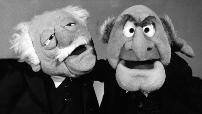 circa 1977: Statler and Waldorf, puppet characters from the popular TV Muppet Show. (Photo by Evening Standard/Getty Images)