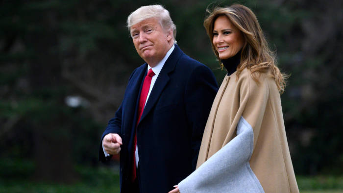 US President Donald Trump and First Lady Melania Trump walk to Marine One before departing from the South Lawn of the White House in Washington, DC on January 31, 2020. (Photo by ANDREW CABALLERO-REYNOLDS / AFP) (Photo by ANDREW CABALLERO-REYNOLDS/AFP via Getty Images)