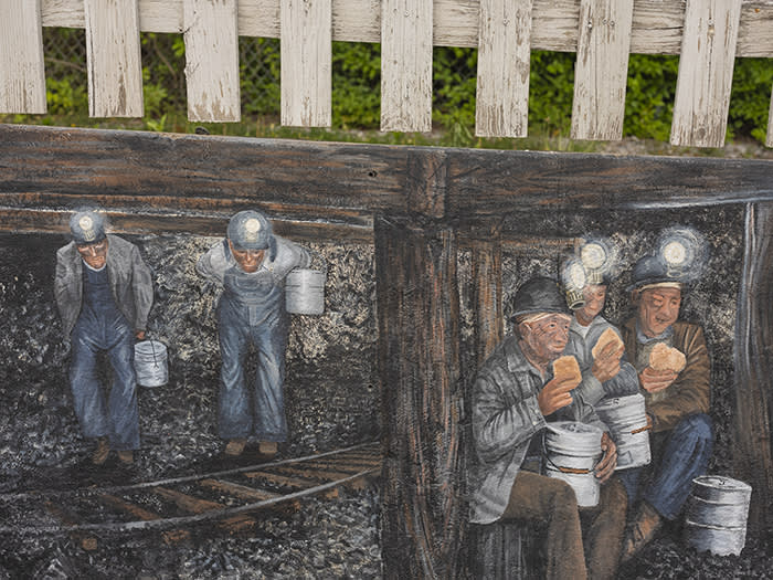 'Lunch in the Coal Mine', a mural in downtown Matewan, West Virginia. 'Without coal we are nothing,' is a popular refrain throughout the state – but these days the march of natural gas seems unstoppable