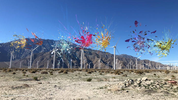 Nancy Baker Cahill, Revolutions (2019) at the Palm Springs Wind Farm, animated Augmented Reality Drawing Courtesy the artist and Desert X