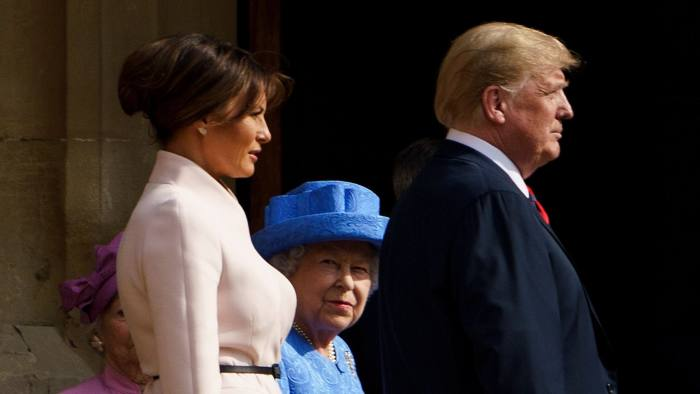 Britain's Queen Elizabeth II escorts US President Donald Trump and US First Lady Melania Trump into Windsor Castle in Windsor, west of London, on July 13, 2018 on the second day of Trump's UK visit. Queen Elizabeth II welcomed US President Donald Trump for tea at Windsor Castle on Friday -- a meeting which many Britons find the toughest part of his already contentious trip to swallow. / AFP PHOTO / Brendan SmialowskiBRENDAN SMIALOWSKI/AFP/Getty Images