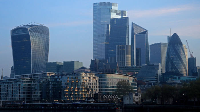 LONDON, ENGLAND - APRIL 16: A general view of the city skyline on April 16, 2020 in London, England . The Coronavirus (COVID-19) pandemic has spread to many countries across the world, claiming over 130,000 lives and infecting over 2 million people. (Photo by Andrew Redington/Getty Images)