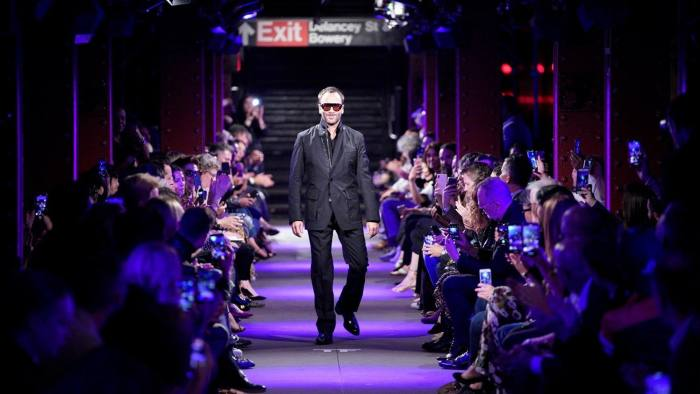 Tom Ford appearing at his show