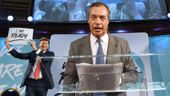 Mandatory Credit: Photo by FACUNDO ARRIZABALAGA/EPA-EFE/Shutterstock (10372838b) Brexit Party leader Nigel Farage (R) delivers a speech in Westminster, London, Britain, 27 August 2019. Nigel Farage was speaking to party members and delegates during the party's presentation of prospective parliamentary candidates. Brexit Party event in London, United Kingdom - 27 Aug 2019