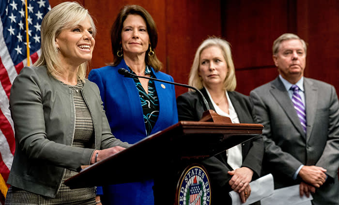 From left, former Fox News host Gretchen Carlson, accompanied by Rep. Cheri Bustos, D-Illinois., Sen. Kirsten Gillibrand, D-N.Y., and Sen. Lindsey Graham, R-S.C., speaks during a news conference where members of congress introduce legislation to curb sexual harassment in the workplace, on Capitol Hill, Wednesday, Dec. 6, 2017, in Washington. (AP Photo/Andrew Harnik)