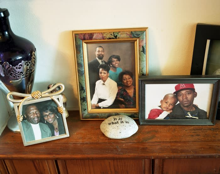 PHOTOGRAPHS OF BERNADETTE WYRE'S FAMILY LOCATED IN HER HOME IN DETROIT, MICHIGAN.