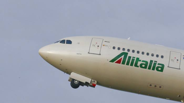 An Alitalia airplane takes off at the Fiumicino International airport in Rome, Italy February 12, 2016. REUTERS/Tony Gentile - RTS8YW1