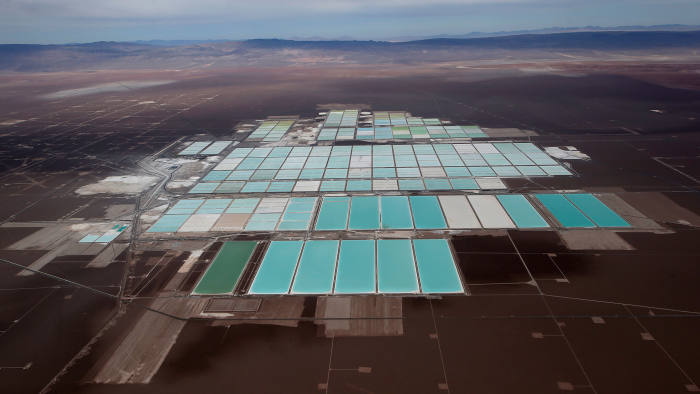FILE PHOTO: An aerial view shows the brine pools of SQM lithium mine on the Atacama salt flat in the Atacama desert of northern Chile, Jan.10, 2013. Picture taken Jan.10, 2013. REUTERS/Ivan Alvarado/File Photo