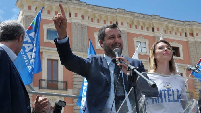 Mandatory Credit: Photo by CLAUDIO LONGO/EPA-EFE/REX/Shutterstock (10242564h) Italian Deputy Premier and Interior Minister, Matteo Salvini (C), attends an election campaign rally in Lecce, southern Italy, 21 May 2019. Matteo Salvini is campaigning for his right-wing Lega (League) party in the upcoming European election. Italian Deputy Premier and Interior Minister, Matteo Salvini, Lecce, Italy - 21 May 2019