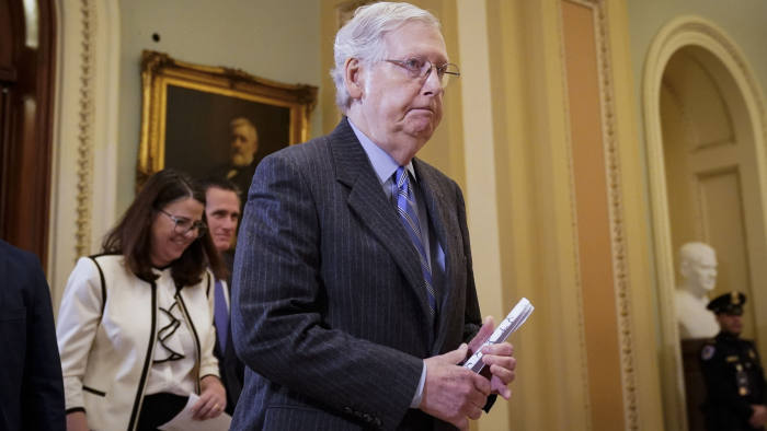 WASHINGTON, DC - JANUARY 31: Senate Majority Leader Mitch McConnell (R-KY) leaves the Senate chamber during a recess in the Senate impeachment trial of U.S. President Donald Trump at the U.S. Capitol on January 31, 2020 in Washington, DC. On Friday, Senators are expected to debate and then vote on whether to include additional witnesses and documents. (Photo by Drew Angerer/Getty Images)