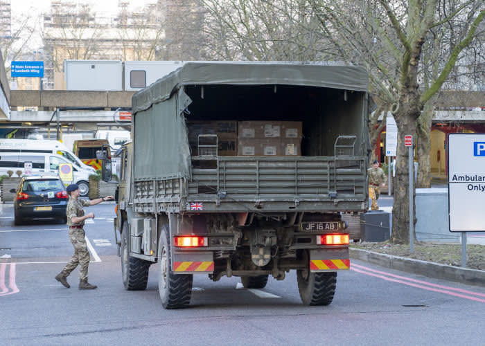 Soldiers from 4 Regiment, Royal Logistic Corps delivered 10,000 protective face masks to St ThomasHospital this morning (24-03-2020). The Personal Protective Equipment was collected from Haydock, near Mersyside last night and driven down to London. The rest of the equipment will be kept outside of London so it can be brought in as required.