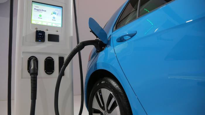An electric vehicle charging station is seen at the Volkswagen display during the media day at the Canadian International AutoShow in Toronto, Ontario, Canada, February 14, 2019. REUTERS/Chris Helgren