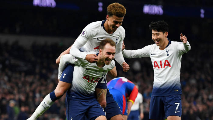 """Soccer Football - Premier League - Tottenham Hotspur v Crystal Palace - Tottenham Hotspur Stadium, London, Britain - April 3, 2019  Tottenham's Christian Eriksen celebrates scoring their second goal with Dele Alli and Son Heung-min                     REUTERS/Dylan Martinez  EDITORIAL USE ONLY. No use with unauthorized audio, video, data, fixture lists, club/league logos or """"live"""" services. Online in-match use limited to 75 images, no video emulation. No use in betting, games or single club/league/player publications.  Please contact your account representative for further details.     TPX IMAGES OF THE DAY"""