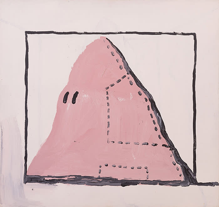 GUSTO84052 Philip Guston Untitled (Hood) 1969 Acrylic on panel 74.9 x 79.4 cm / 29 1/2 x 31 1/4 in © The Estate of Philip Guston Courtesy the Estate and Hauser & Wirth Photo: Genevieve Hanson