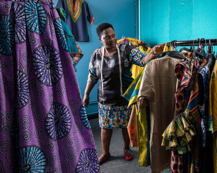 Picture by Jon Super for The Financial Times newspaper. Pic fao Marcus Cotton re story by Andy Bounds. Picture show Faith Gakanje, a Zimbabwean refugee who has started a business in Nottingham making clothes, May 25, 2018. (Photo/Jon Super 07974 356-333)