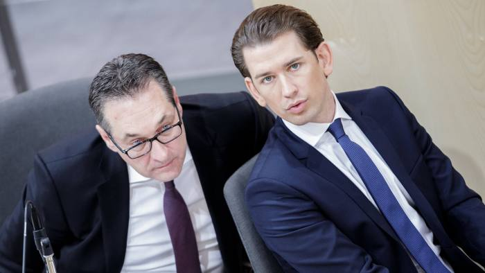 epa06617316 Austrian Chancellor Sebastian Kurz (R) and Vice Chancellor Heinz-Christian Strache (L) attend the 2018 Austrian budget presentation in Parliament in Vienna, Austria, 21 March 2018. Austria expects an 'administrative surplus' of 541 million euros in 2019 after the Austrian 2018 and 2019 double budget was set by the government. The 'structural zero deficit' set at EU level is barely reached, Loeger told the members of the parliament in Vienna. EPA-EFE/LISI NIESNER