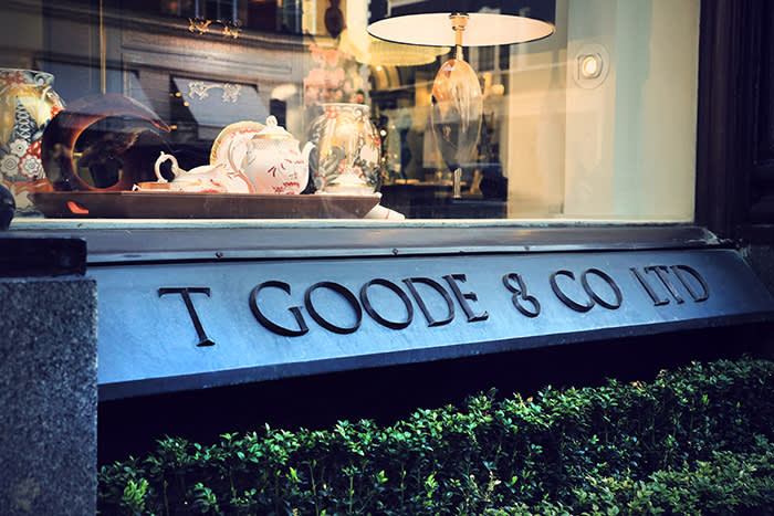 A window at Thomas Goode's South Audley Street store, London