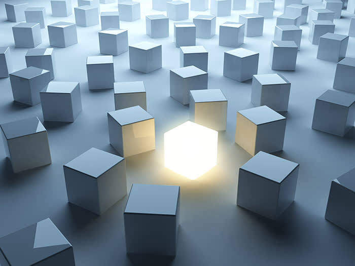 No People; Efficiency; Glowing; Illustration; Inspiration; Abstract; Backgrounds; Illuminated; Luminosity; Success; Solution; Contrasts; Innovation; Imagination; Creativity; Improvement; Individuality; Concepts; Cube Shape; Three-dimensional Shape; Blue; Ideas; Business; render