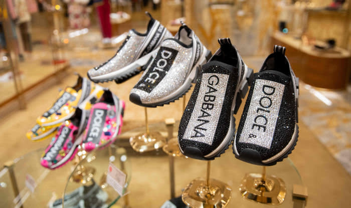 Shoes are displayed at a Dolce & Gabbana shop in Beijing on November 22, 2018. - Dolce & Gabbana cancelled a long-planned fashion show in Shanghai on November 21 after an outcry over racially offensive posts on its social media accounts, a setback for the company in the world's most important luxury market. (Photo by Nicolas ASFOURI / AFP)NICOLAS ASFOURI/AFP/Getty Images