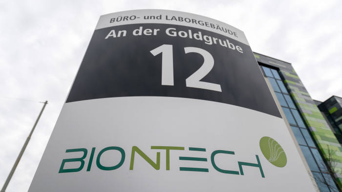 Mandatory Credit: Photo by RONALD WITTEK/EPA-EFE/Shutterstock (10621000e) (FILE) - A view of signage of German biopharmaceutical company BionTech in Mainz, Germany, 18 March 2020 (reissued 22 April 2020). Reports on 22 April 2020 state the German regulatory body Paul-Ehrlich-Institute in a statement said they have authorized the first clinical trial of a vaccine against COVID-19 in Germany, developed by Biontech and US-based Pfizer. The Paul-Ehrlich-Institute also said 'it is a result of a careful assessment of the potential risk/benefit profile of the vaccine candidate.' Vaccine manufacturer BionTech in Mainz, Germany - 18 Mar 2020