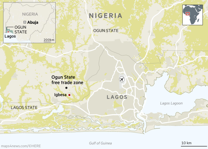 China in Nigeria Ogun State free trade zone map