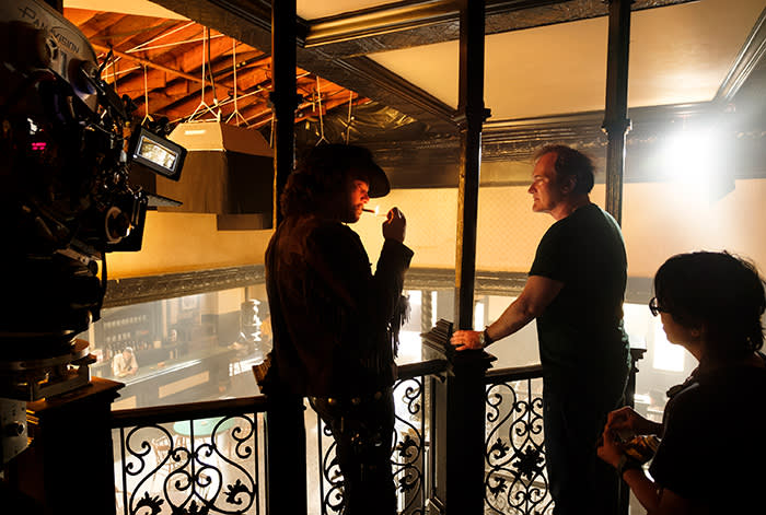 Quentin Tarantino directs Leonardo DiCaprio on the set of 'Once Upon a Time . . . in Hollywood'