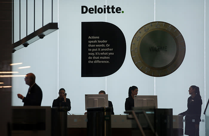 "A Deloitte logo is pictured at the company's offices in London on September 25, 2017. 			Deloitte said Monday that ""very few"" of the accounting and consultancy firm's clients were affected by a hack after a news report said systems of blue-chip clients had been breached. / AFP PHOTO / Daniel LEAL-OLIVAS        (Photo credit should read DANIEL LEAL-OLIVAS/AFP/Getty Images)"