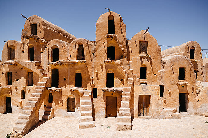 In the past, nomadic berber tribes kept their food stuffs in these semi-fortified granaries. These ones are located in the Tataouine district. These granaries inspired and were used as locations in the orginal Star Wars films.