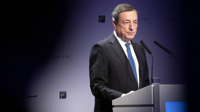 """Mario Draghi, president of the European Central Bank (ECB), speaks at the European Banking Congress in the Frankfurt Opera House in Frankfurt, Germany, on Friday, Nov. 16, 2018. Draghi expects the euro area to continue growing in coming years even amid risks from protectionism that need to be monitored """"very carefully."""" Photographer: Alex Kraus/Bloomberg"""