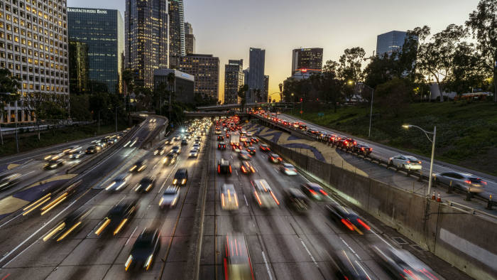 LOS ANGELES, CA, UNITED STATES - 2019/02/07: A view of down town Los Angeles skyline and traffic on the 110 Free-way. (Photo by Ronen Tivony/SOPA Images/LightRocket via Getty Images)