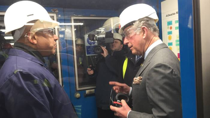 The Prince of Wales during his visit to Liberty Speciality Steels in Rotherham, South Yorkshire where he formally reigniting a previously mothballed furnace. PRESS ASSOCIATION Photo. Picture date: Friday February 16, 2018. The electric arc furnace at Liberty Speciality Steels was decommissioned by previous owners during the steel crisis two-and-a-half years ago. The relighting on Friday formed part of a multimillion-pound investment by the Liberty House Group, which will create 300 jobs at Rotherham and its sister plant in Stocksbridge, Sheffield, as well as hundreds more across the country. See PA story INDUSTRY Steel . Photo credit should read: Josh Payne/PA Wire