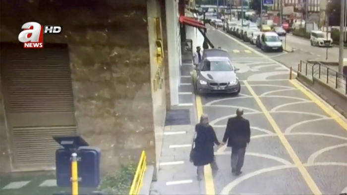CCTV footage of Jamal Khashoggi and his fiancée Hatice Cengiz leaving home on the day the Saudi journalist disappeared in Istanbul