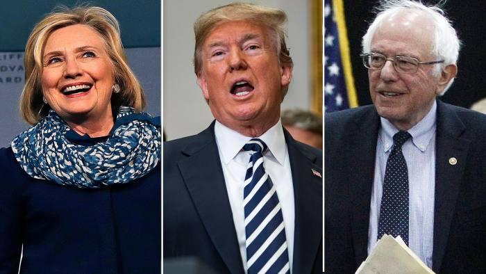 FTGraphics Hillary Clinton, Donald Trump, and Bernie Sanders triptych