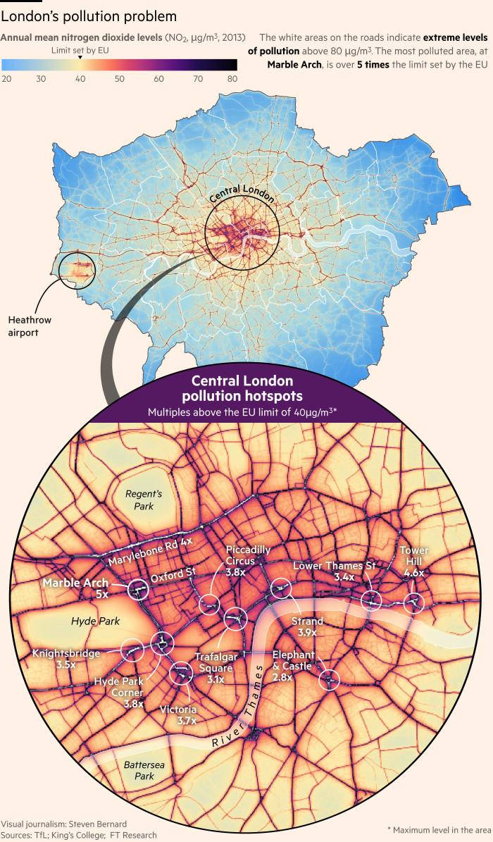 Nitrogen dioxide levels of London mapped