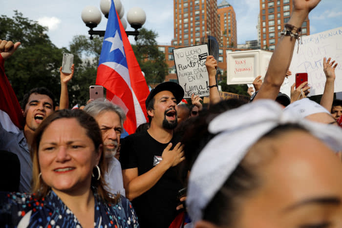 Actor Lin-Manuel Miranda joins protesters in New York's Union Square to call for Puerto Rico Governor Ricardo Rossello to resign after leaked controversial text messages between the governor and his closest allies and a federal probe into government corruption in New York in 2019