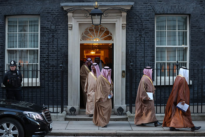 "Members of Saudi Arabia's Crown Prince Mohammed bin Salman's delegation leave 10 Downing Street, in central London on March 7, 2018. British Prime Minister Theresa May will ""raise deep concerns at the humanitarian situation"" in war-torn Yemen with Saudi Crown Prince Mohammed bin Salman during his visit to Britain beginning Wednesday, according to her spokesman. / AFP PHOTO / DANIEL LEAL-OLIVASDANIEL LEAL-OLIVAS/AFP/Getty Images"