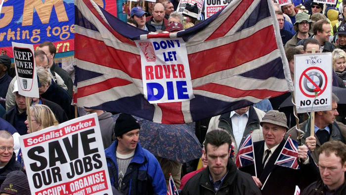 Rover workers demonstrate in 2000. When BMW sold the British car company, it had to provide a 'dowry' of hundreds of millions of pounds to reflect the dire state of the business