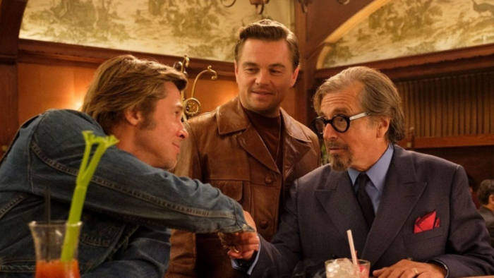 From left, Brad Pitt, Leonardo DiCaprio and Al Pacino in 'Once Upon a Time ... in Hollywood'