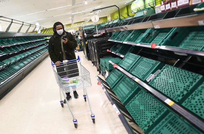 The UK government has not stepped in to control the distribution of food, despite evidence of panic buying
