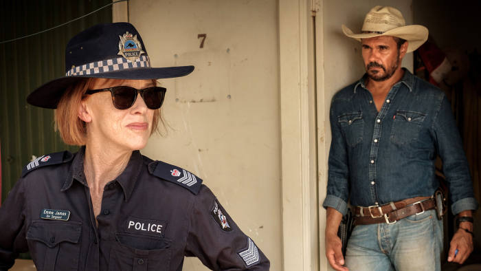 Programme Name: Mystery Road - TX: n/a - Episode: Mystery Road - generics (No. n/a) - Picture Shows: Emma James (JUDY DAVIS), Jay Swan (AARON PEDERSEN) - (C) Bunya Productions/all3media international - Photographer: -