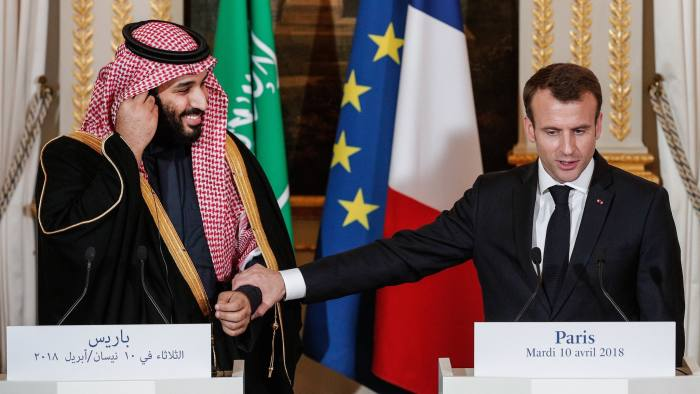 French President Emmanuel Macron (R) and Saudi Arabia's Crown Prince Mohammed bin Salman (L) give a joint press conference at the Elysee Palace in Paris on April 10, 2018. / AFP PHOTO / POOL / YOAN VALAT (Photo credit should read YOAN VALAT/AFP/Getty Images)