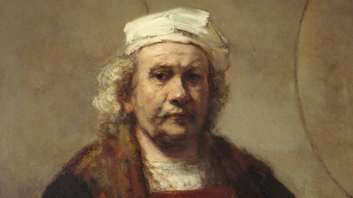 Detail from 'Self-Portrait with Two Circles' by Rembrandt, which is on loan to Gagosian's Grosvenor Hill gallery